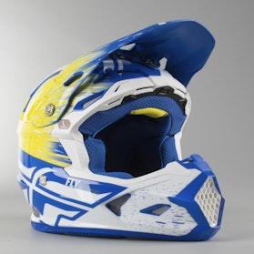 Motokrosová Helma FLY Toxin Bílá-Žlutá-Modrá