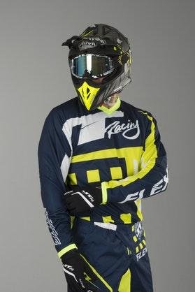Bluza Cross JT Racing Flex Exbox Granatowo-Niebiesko-Neon-Żółta