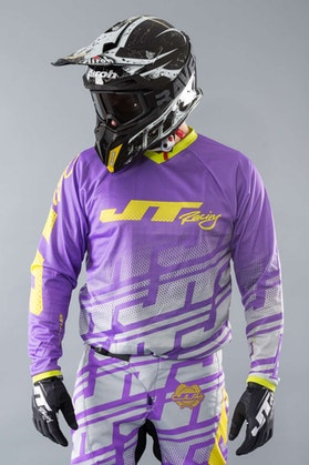 JT Racing Flex Jersey Echo Purple-White-Yellow