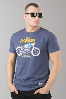 Ride&Sons Bobber Heather T-Shirt Blue