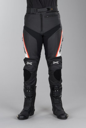 IXS Rouven Leather Trousers Black-White-Red