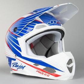 JT Racing ALS 2.0 Subframe Motocross Helmet Blue-White-Red