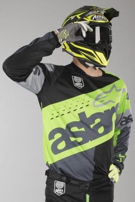 Bluza Cross Alpinestars Racer Flagship Fluorescencyjno Zielono- Antracytowo-Czarna