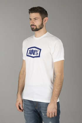 100% Essential T-Shirt White-Blue