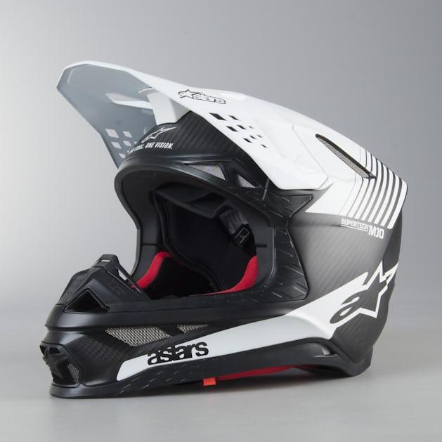 Alpinestars Supertech M10 Dyno ECE MX Helmet Matte Black Carbon Fibre White