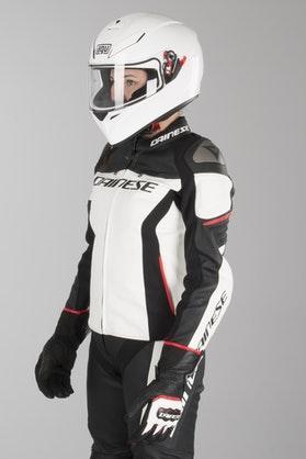 Kurtka Skórzana Dainese Racing 3 Damska Biało-Czarno-Czerwona