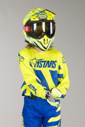Bluza Cross Alpinesters Racer Braap Dziecięca Niebiesko-Żółta Fluorescencyjna