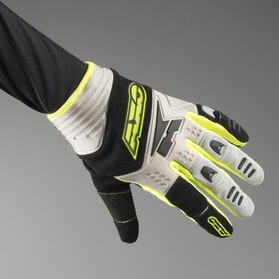 AXO Padlock MX Gloves Grey, Yellow & Black