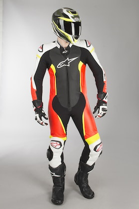 Alpinestars Missile Tech Air Compatible Leather Suit - Black-White-Flourescent Red-Flourescent Yellow