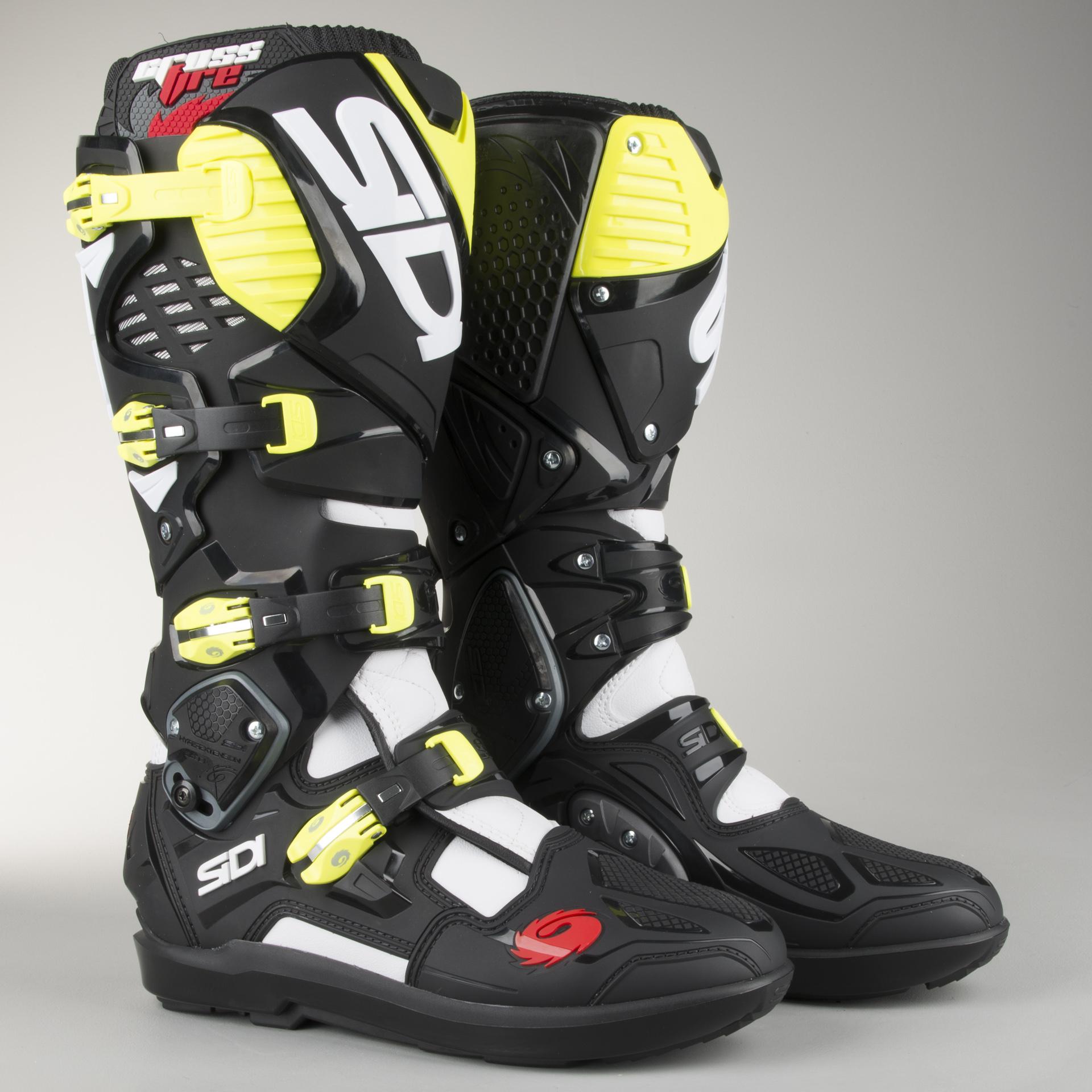 Size 46 Black//Ash//Yellow Fluo Sidi Sidi Crossfire 3 SRS Motorcycle Boot