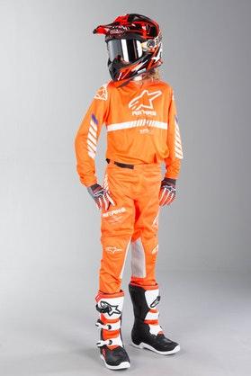 Alpinestars Racer Tech Kid's MX Clothing Fluo Orange-White-Blue