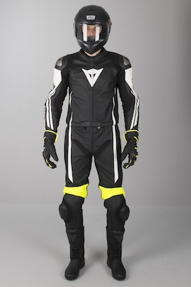 Dainese Assen 2-Piece Leathers Black-White-Yellow