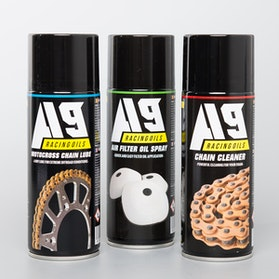 A9 3 Pack MX Chain Lube, Air Filter Spray & Chain Cleaner