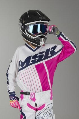 Bluza Cross Dziecięca MSR M17 Axxis Biało-Niebiesko-Różowa