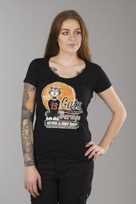 T-Shirt Lucky 13 La Gata Damski Czarny