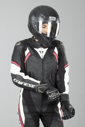 Dainese Avro D2 Women's 2-Piece Leathers Black-White-Fuchsia