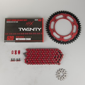MX Twenty Delta/Interlink X-Ring Chain & Sprocket Kit Red