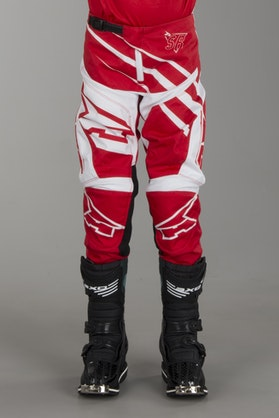 AXO SR Youth MX Trousers White & Red