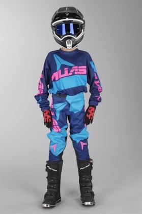 Alias A2 Bars Youth Motocross Kit Navy Blue-Cyan