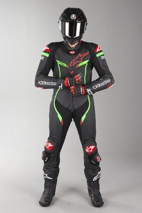 Alpinestars GP Pro V2 Tech-Air Leather Suit Black-Light Green