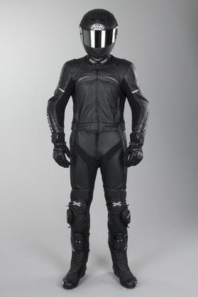 IXS Camaro Leathers 2-Piece Long Black-Titanium-Gray