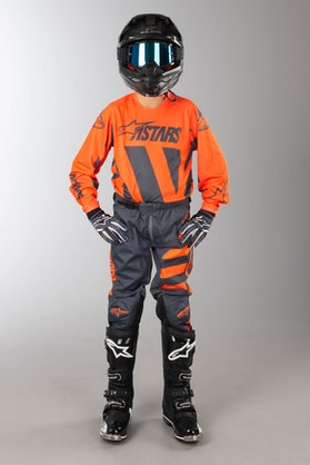 Alpinestars Racer Braap Children's MX Clothing Kit Anthracite-Orange Fluo
