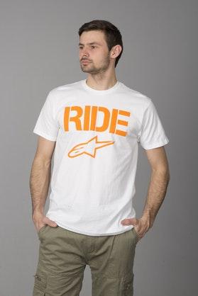 T-Shirt Alpinestars Ride Solid Biało-Pomarańczowy
