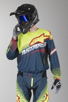 Alpinestars Techstar Factory MX Jersey Petrol-Fluorescent Yellow-Red