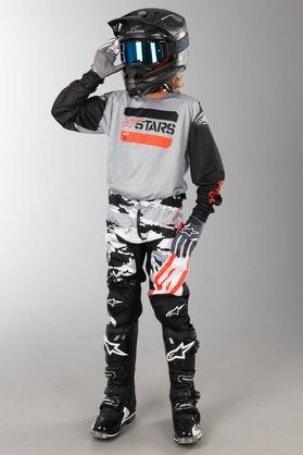 Alpinestars Racer Tactical Children's MX Clothing Kit Black-Grey-Red Fluo