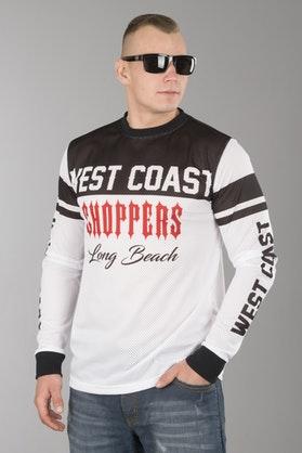 Koszulka Siatka West Coast Choppers OG Długi Rękaw Biało-Czerwona