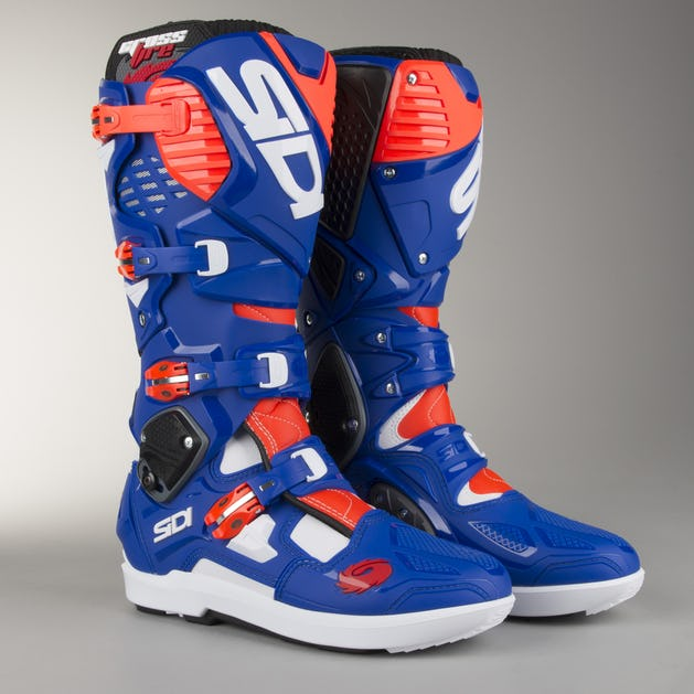 Sidi Crossfire 3 SRS Boots White-Blue-Fluo Red