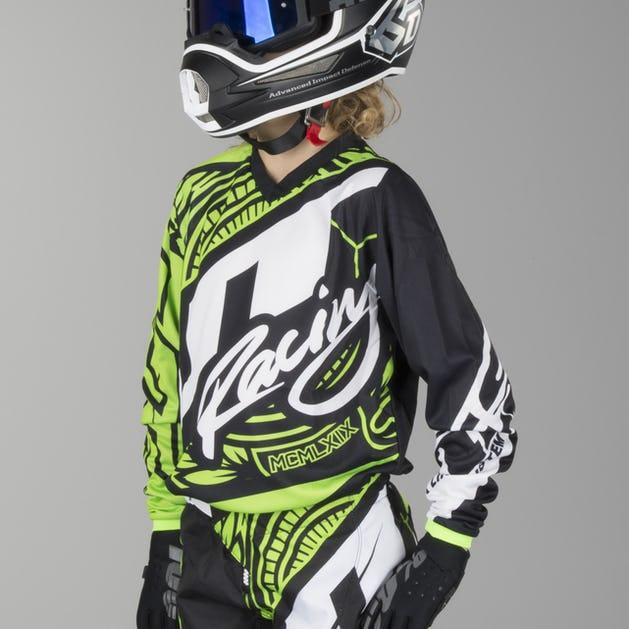 JT Racing Flex Victory Youth Motocross Jersey Fluorescent Green-Black