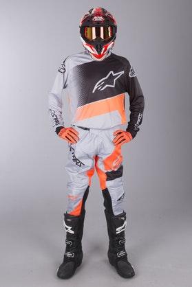 MX Souprava Alpinestars Racer Supermatic Šedé-Černé-Oranžové