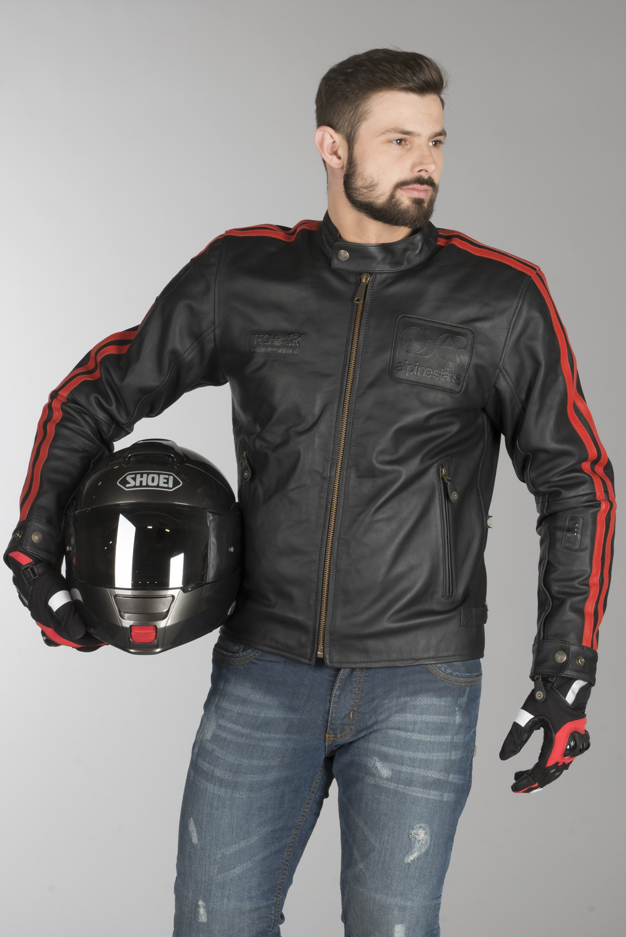 Alpinestars Charlie Leather Giacca Tech-Air Compatible Nero Rosso L