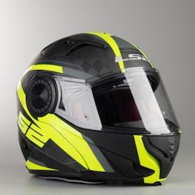LS2 FF313 Vortex Frame Flip-Up Helmet Carbon-Hi-Vis-Yellow