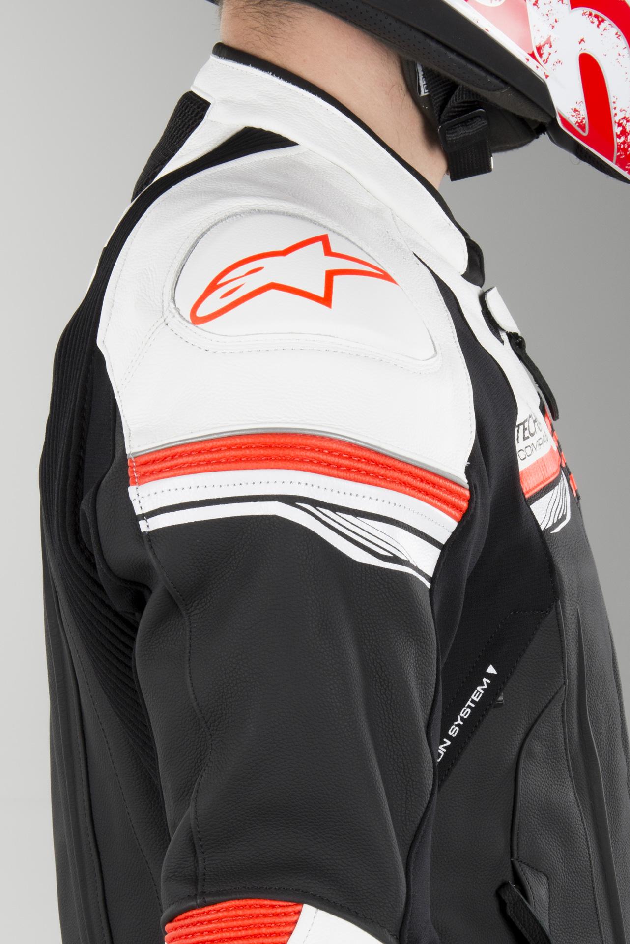 Skinnjakke Alpinestars GP R V2 Tech Air® Svart Hvit Rød Fluo
