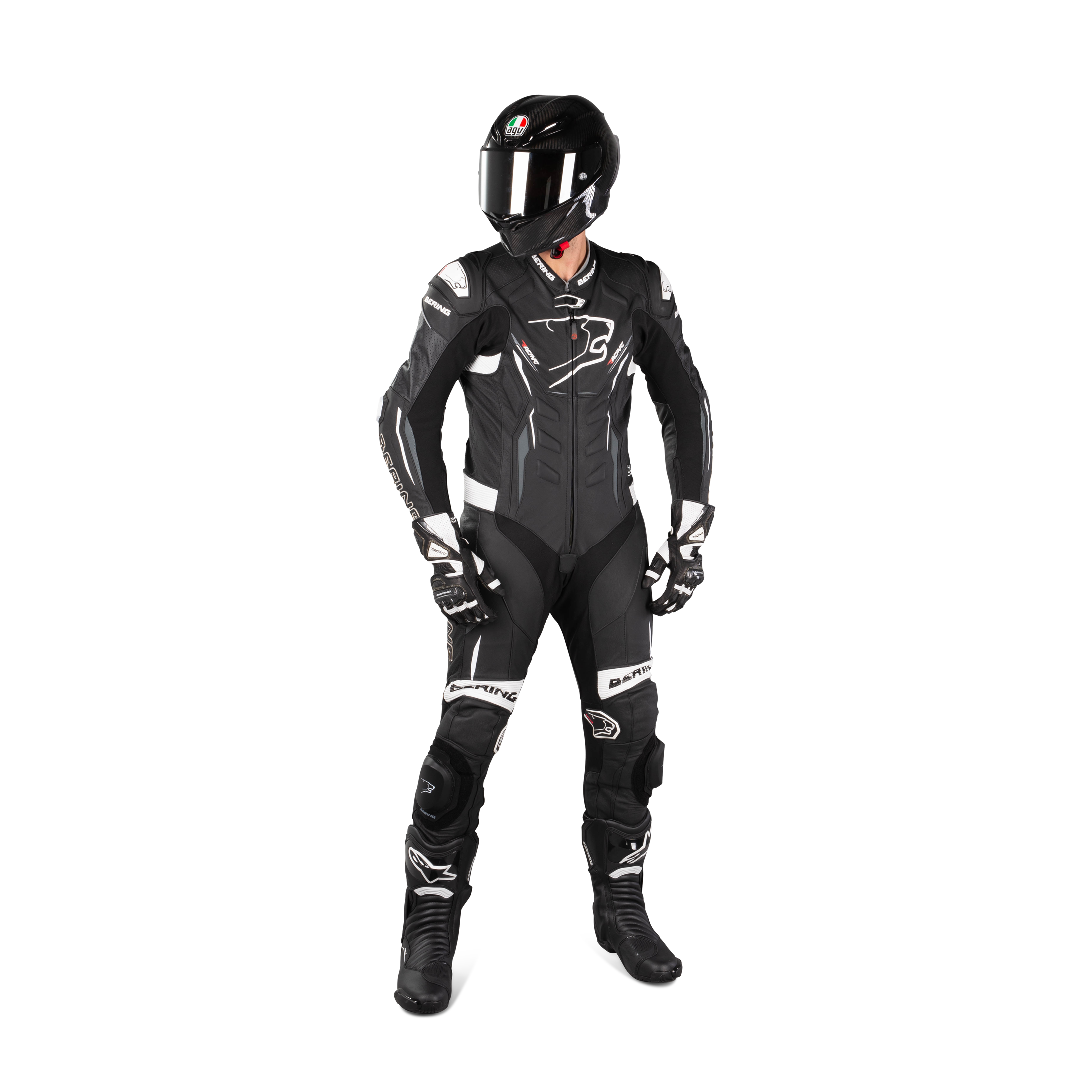 NorthernFinch Mens Fashion Motorbike Real Leather Two Pieces Suit with Armor Protection Grey /& Black