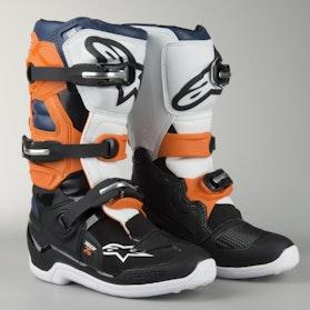Crossstøvler Alpinestars Tech 7S Junior, Sort/Orange/Hvid/Blå