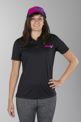 FXR Ladies Infinite Polo Shirt Black-Hot Pink