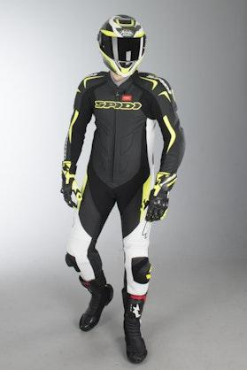 Kombinezon Skórzany Spidi Supersport Wind Pro Czarno-Fluorescencyjny Żółty