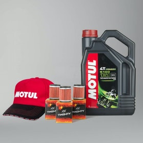 Motul 5100 Motor Oil 4T Semi-Synthetic 4L + Twenty Oil Filter 3-Pack Sale w/ Cap