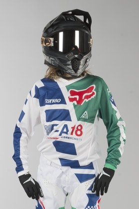 Fox 180 MX 18 Sayak Kids MX Jersey Green