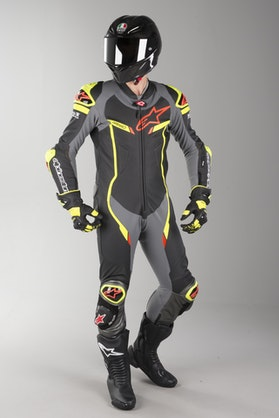 Alpinestars GP Pro V2 Tech-Air Leather Suit Black-Metallic Grey-Yellow Fluo