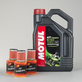 Motul 5100 4T 4L Semi-Synthetic Oil + Twenty 3-pack Oil Filters
