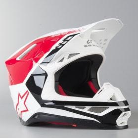 Kask Cross Alpinestars Supertech M8 Triple ECE  Czerwono-Biało-Czarny Błyszczący