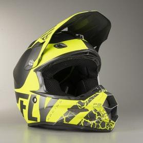 FLY F2 Fracture Cross-Helmet Matte Grey-HiVis
