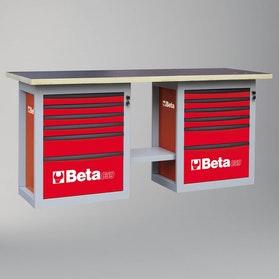 Stół warsztatowy z 12 szufladami, model krótki Beta Tools