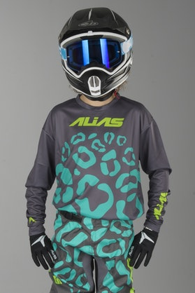 Alias A2 Cheetah Children's MX Jersey Grey-Seafoam Green