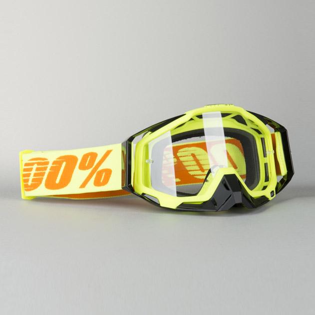 100/% MX Motocross RACECRAFT Goggles Attack Yellow w// Anti-Fog Clear Lens