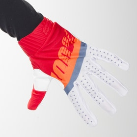 Crosshandsker 100% Ridefit, Rød/Neonorange/Skifterblå